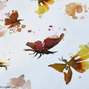 "Tissu jersey coton motif papillons ""Butterflies"" - Blanc, tons ocre et marrons - Oeko-Tex ® Family Fabrics ® - 2"
