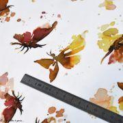 "Tissu jersey coton motif papillons ""Butterflies"" - Blanc, tons ocre et marrons - Oeko-Tex ® Family Fabrics ® - 6"