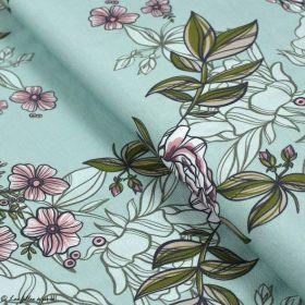 "Tissu jersey de viscose fleur ""Selma"" - Vert menthe et rose - Lillestoff ® Lillestoff ® - 1"