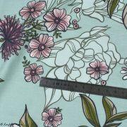 "Tissu jersey de viscose fleur ""Selma"" - Vert menthe et rose - Lillestoff ® Lillestoff ® - 9"
