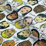 "Tissu french terry coton motif visages cosmopolites ""Lille Together"" - Tons marrons et ocre- Bio - Lillestoff ® Lillestoff ® - 1"