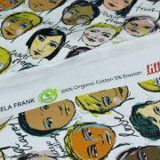 "Tissu french terry coton motif visages cosmopolites ""Lille Together"" - Tons marrons et ocre- Bio - Lillestoff ® Lillestoff ® - 7"