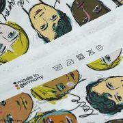 """Tissu popeline coton motif visages cosmopolites """"Lille Together"""" - Tons marrons et ocre- Bio - Lillestoff ® Lillestoff ® - 5"""