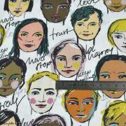 """Tissu popeline coton motif visages cosmopolites """"Lille Together"""" - Tons marrons et ocre- Bio - Lillestoff ® Lillestoff ® - 8"""