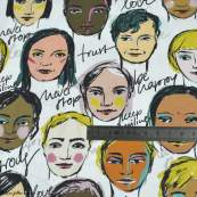 "Tissu popeline coton motif visages cosmopolites ""Lille Together"" - Tons marrons et ocre- Bio - Lillestoff ® Lillestoff ® - Tissu"