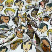 """Tissu popeline coton motif visages cosmopolites """"Lille Together"""" - Tons marrons et ocre- Bio - Lillestoff ® Lillestoff ® - 2"""