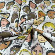 """Tissu popeline coton motif visages cosmopolites """"Lille Together"""" - Tons marrons et ocre- Bio - Lillestoff ® Lillestoff ® - 3"""