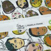 """Tissu popeline coton motif visages cosmopolites """"Lille Together"""" - Tons marrons et ocre- Bio - Lillestoff ® Lillestoff ® - 4"""