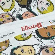 """Tissu popeline coton motif visages cosmopolites """"Lille Together"""" - Tons marrons et ocre- Bio - Lillestoff ® Lillestoff ® - 7"""