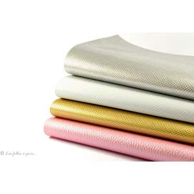 Coupons simili cuir - Argenté, blanc, doré et rose - Lot de 4