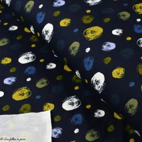 Tissu french terry coton motif pois peinture - Noir, doré, bleu et blanc - Oeko-Tex ® - Stenzo Textiles ® Stenzo Textiles ® - Ti