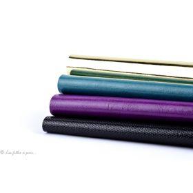 Coupons simili cuir - Argenté, bleu pétrole, violet et noir - Lot de 4