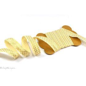 Biais élastique pré-plié motif écaille doré - Ecru -16mm - 1