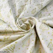 Tissu coton motif sapins de Noël - Ecru et doré - Oeko-Tex ® et GOTS ® Autres marques - 3