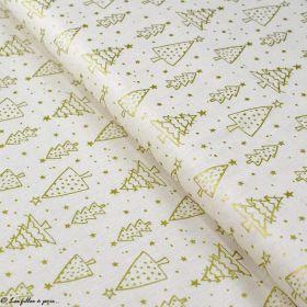 Tissu coton motif sapins de Noël - Ecru et doré - Oeko-Tex ® et GOTS ® Autres marques - 1