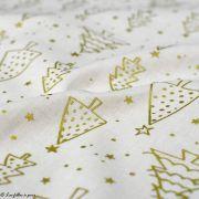 Tissu coton motif sapins de Noël - Ecru et doré - Oeko-Tex ® et GOTS ® Autres marques - 2
