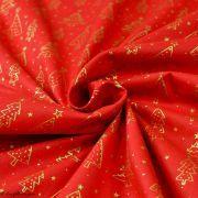 Tissu coton motif sapins de Noël - rouge et doré - Oeko-Tex ® et GOTS ® Autres marques - 3