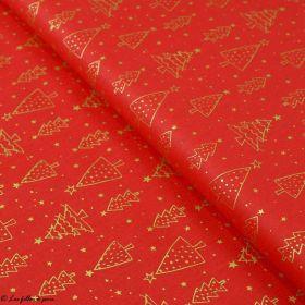 Tissu coton motif sapins de Noël - rouge et doré - Oeko-Tex ® et GOTS ® Autres marques - 1
