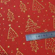 Tissu coton motif sapins de Noël - rouge et doré - Oeko-Tex ® et GOTS ® Autres marques - 4