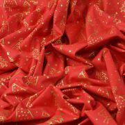Tissu coton motif sapins de Noël - rouge et doré - Oeko-Tex ® et GOTS ® Autres marques - 5