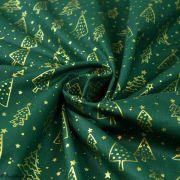 Tissu coton motif sapins de Noël - vert et doré - Oeko-Tex ® et GOTS ® Autres marques - 2