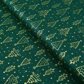 Tissu coton motif sapins de Noël - vert et doré - Oeko-Tex ® et GOTS ® Autres marques - 1