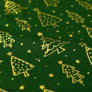 Tissu coton motif sapins de Noël - vert et doré - Oeko-Tex ® et GOTS ® Autres marques - 3