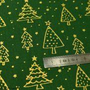 Tissu coton motif sapins de Noël - vert et doré - Oeko-Tex ® et GOTS ® Autres marques - 4