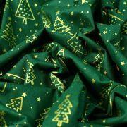 Tissu coton motif sapins de Noël - vert et doré - Oeko-Tex ® et GOTS ® Autres marques - 5
