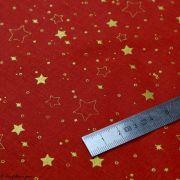 Tissu coton motif étoiles de Noël - Rouge et doré - Oeko-Tex ® et GOTS ® Autres marques - 3