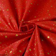 Tissu coton motif étoiles de Noël - Rouge et doré - Oeko-Tex ® et GOTS ® Autres marques - 5