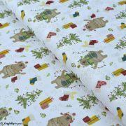 Tissu coton motif ours de Noël - Blanc et multicolore - Oeko-Tex ® et GOTS ® Autres marques - 1