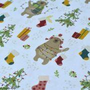 Tissu coton motif ours de Noël - Blanc et multicolore - Oeko-Tex ® et GOTS ® Autres marques - 2