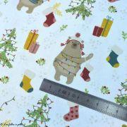 Tissu coton motif ours de Noël - Blanc et multicolore - Oeko-Tex ® et GOTS ® Autres marques - 5