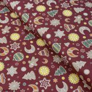 Tissu coton motif gâteaux de Noël - Bordeaux et multicolore - Oeko-Tex ® et GOTS ®