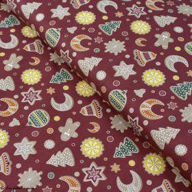 Tissu coton motif gâteaux de Noël - Bordeaux et multicolore - Oeko-Tex ® et GOTS ® Autres marques - 3