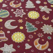 Tissu coton motif gâteaux de Noël - Bordeaux et multicolore - Oeko-Tex ® et GOTS ® Autres marques - 2