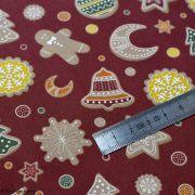 Tissu coton motif gâteaux de Noël - Bordeaux et multicolore - Oeko-Tex ® et GOTS ® Autres marques - 5
