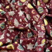 Tissu coton motif gâteaux de Noël - Bordeaux et multicolore - Oeko-Tex ® et GOTS ® Autres marques - 4