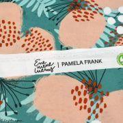 "Tissu popeline coton motif fleurs ""Lille LilleLula"" - Vert menthe et saumon - Bio - Lillestoff ® Lillestoff ® - 5"