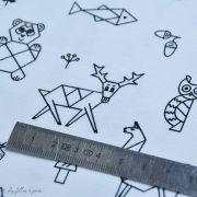 Tissu jersey motif origami - Blanc et noir - Oeko-Tex ® - Stenzo Textiles ® Stenzo Textiles ® - 5
