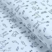 Tissu jersey motif origami - Blanc et noir - Oeko-Tex ® - Stenzo Textiles ®