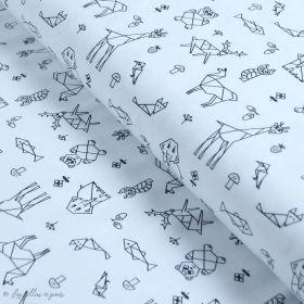 Tissu jersey motif origami - Blanc et noir - Oeko-Tex ® - Stenzo Textiles ® Stenzo Textiles ® - 1