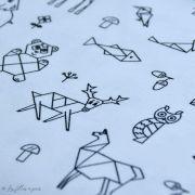 Tissu jersey motif origami - Blanc et noir - Oeko-Tex ® - Stenzo Textiles ® Stenzo Textiles ® - 3
