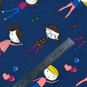 Tissu jersey coton motif fillettes - Bleu foncé et multicolore - Oeko-Tex ® Autres marques - 9