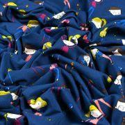 Tissu jersey coton motif fillettes - Bleu foncé et multicolore - Oeko-Tex ® Autres marques - 7