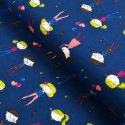 Tissu jersey coton motif fillettes - Bleu foncé et multicolore - Oeko-Tex ®
