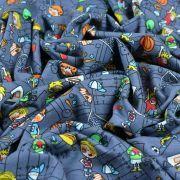 Tissu jersey coton motif sport - Gris foncé et multicolore - Oeko-Tex ® Autres marques - 6