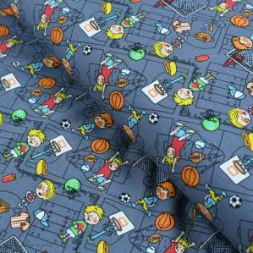 Tissu jersey coton motif sport - Gris foncé et multicolore - Oeko-Tex ® Autres marques - 1