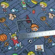 Tissu jersey coton motif sport - Gris foncé et multicolore - Oeko-Tex ® Autres marques - 7